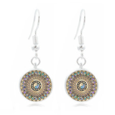 yang Art 16Mm Glass Cabochon Long Earrings New 1 Tibet Silver Dome Photo yin and