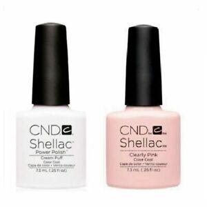 CND Shellac French Manicure UV Gel Polish ~ Cream Puff + Clearly Pink 0.25 oz
