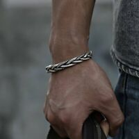 Retro 925 Silver Twisted Woven Open Bracelet Bangle Men Jewelry Wristband Gifts