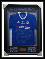 Chelsea Signed 2017 EPL Champions Team Signed Jersey Framed Terry Costa Fabregas