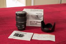 Canon EF-S 17-55mm F/2.8 IS USM Zoom Camera Lens With Hood and Original Box!