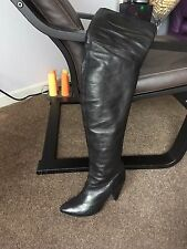 AUTH VIC MATIE SHAPED OVER THE KNEE LEATHER BOOTS Sz 37 IT / 7 US MADE IN ITALY