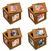 Personalised Oak Wooden Photo Box Keepsake Cube me and Mummy Daddy Grandad cube