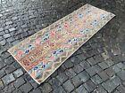 Patchwork rug, Runner rug, Vintage rug, Handmade rug, Corridor rug, Wool 2x7ft.