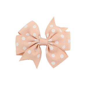 1 Piece Kids Girls Polka Dot Hair Bows Pins Silver Alligator Clips Headwear