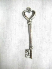 OLD FASHIONED LOVE SKELETON KEY HEART TOPPER PEWTER PENDANT ADJ CORD NECKLACE
