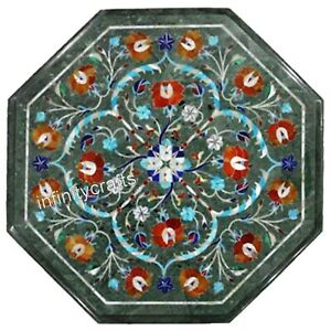 14 Inch Green Marble Corner Table Top Floral Design Inlaid Coffee Table for Home