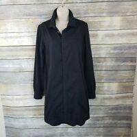 Hudson Size M Tricia Utility Shirt Dress Black Long Sleeve  Snap Button