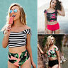 Womens Off Shoulder High Waist Bikini Set Swimsuit Tankini Swimwear Bathing Suit