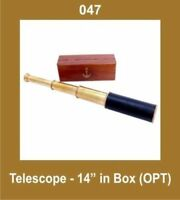 14'' Telescope in Box (Opt) Nautical Collectible Brass CAD
