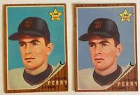 1962 Topps Baseball Rookie Card RC GAYLORD PERRY #199 (1) Original + (1) Reprint