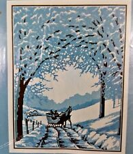Blue & White Silhouette In The Snow Embroidery Needlepoint Kit SEALED Reinardy
