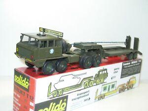SOLIDO BERLIET T12 porte char militaire giro électrique kaki brun 1971' + Rétros
