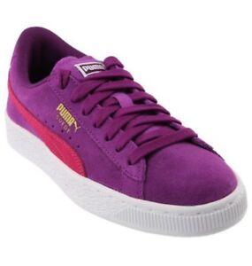 Puma Girls Suede Heart Snake Junior Sneakers Dark Purple Size 4C