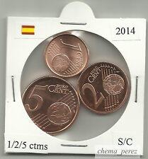 // 1 + 2 + 5 centimos euro España 2014 SC . euro cents spain \
