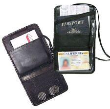 Black Leather Passport Cover Neck Strap ID Holder Wallet Card Travel Organizer