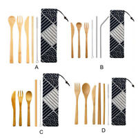 1Set Portable Bamboo Cutlery Travel Eco-friendly Fork Spoon Straw Pouch Set Tool