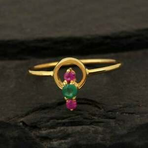 Stackable Minimalist Handmade Jewelry 14k Solid Yellow Gold Emerald Ruby Ring