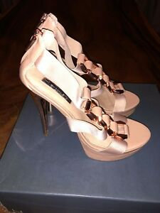 H BY HALSTON TAUPE HEELS SIZE 7 - USED