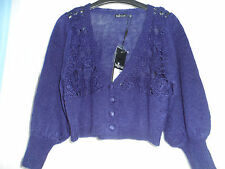 Bnwt new Inltial ladies stunning navy blue cropped cardigan size 12