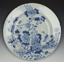 Chinois Kangxi Blue & White Bird & PIVOINE plat 17/18TH C.