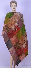 Indian Silk Shawl Scarf Wrap Beautiful Kantha Patchwork Women Shawl Reversible