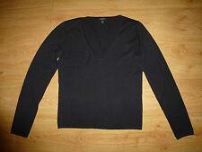 Women's Gant Thin Black V Neck Cotton Blend Jumper Top Size L