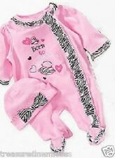 Baby Essentials Footed Coveralls & Matching Hat Set ~ Born To Shop ~ 9 Mons ~NWT