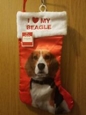 Cute Red Satin I Love Heart My Beagle Dog Christmas Holiday Stocking Brand New