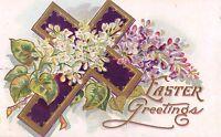 EASTER ~EMBOSSED CROSS GREETING POSTCARD c1910s