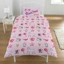 GIRLS SINGLE BED SHEET DUVET COVER PILLOWCASE CHILDS REVERSIBLE MERMAID UNICORN