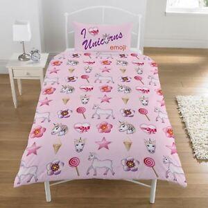 GIRLS SINGLE BED SHEET DUVET COVER PILLOWCASE CHILDS REVERSIBLE MERMAID UNICORN