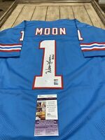 Warren Moon Autographed/Signed Jersey JSA COA Houston Oilers HOF