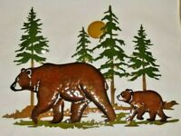 Brown Bear and Cub Metal Wall Plaque Pine Trees Moon Lodge Cabin Home Decor