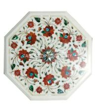 1' Coffee Marble Table Top Inlay Carnelian Mosaic Floral Kitchen Decorates W024