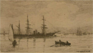 Wilfrid Williams Ball RE ROI (1853-1917) - Etching Miniature, Off Gravesend I