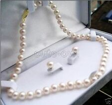Genuine 7-8mm Natural White Akoya Cultured Pearl Earrings Necklace Set 18""