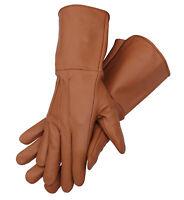 Men's Genuine Leather Medieval Renaissance Gauntlet Cosplay Gloves long arm cuff
