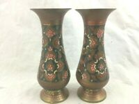 Vintage Pair Small Enamel on Brass Vases Vessels Pink Green Painted Design
