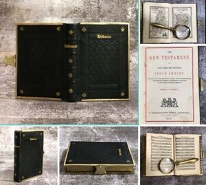 Antique 1815 Old Little Pocket Bible New Testament Map Hymn Music Leather  Clasp