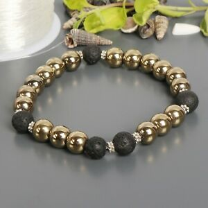 Golden Pyrite & Black Lava Stone Bead Cuff Charm Bangle Bracelet Unisex Bracelet