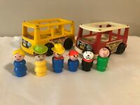TWO Vintage 1969 Fisher Price Little People Mini Buses Red & Yellow 6 Figures