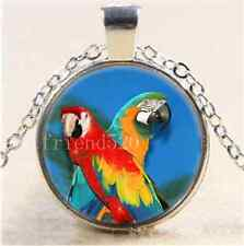 Tibet Silver Chain Pendant Necklace Two Parrot Bird Photo Cabochon Glass