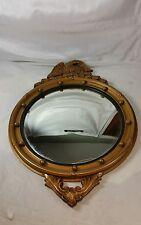Antique American Federal Birdseye Convex Mirror W/ Eagle Maritime, Gesso & Wood