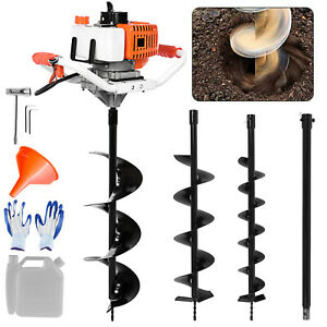 52CC Earth Auger 2-Cycle Gas Powered One Man Post Hole Digger Machine 3 Drills//