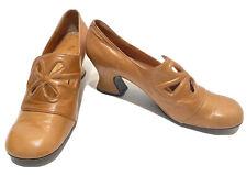 Nordstrom Best Womens Tan Leather Sz 8 High Heels Pilgrim Style Vtg 60s 70s