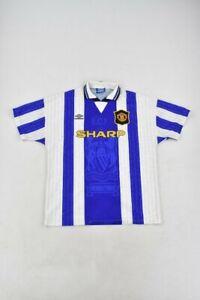 Manchester United Shirt 1994-1996 Size XL Blue & White Away Beckham 24 Umbro