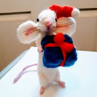 Mouse Needle Felted real wool with Christmas hat holding a present ooak Xmas