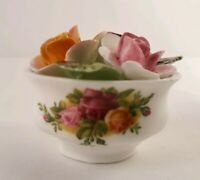 Miniature Royal Albert Old County Roses Bone China Flower Basket