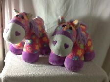 "Pre-Owned 2 DAN DEE PLUSH PINK WITH PURPLE TRIMMING HORE/PONY 13"" FLOWERS NICE"
